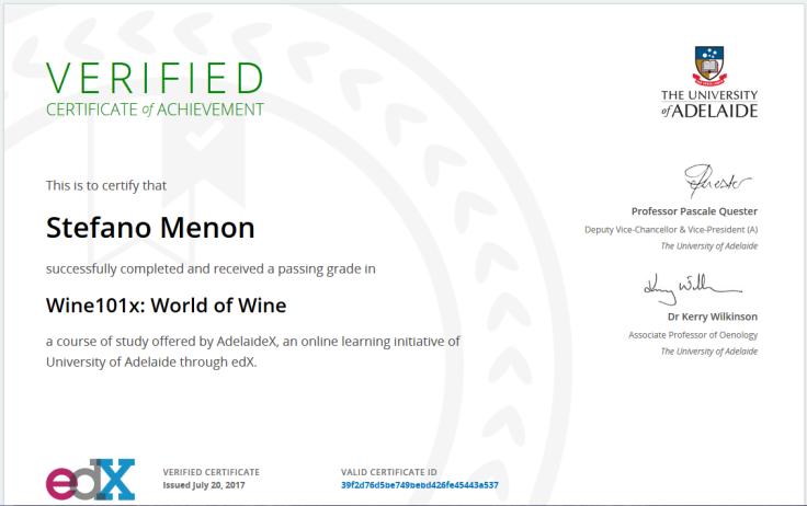 Il certificato rilasciato da edX previa iscrizione a pagamento